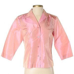 100% Silk Pink w Gold Sheen 3/4 Slv Jacket / Shirt